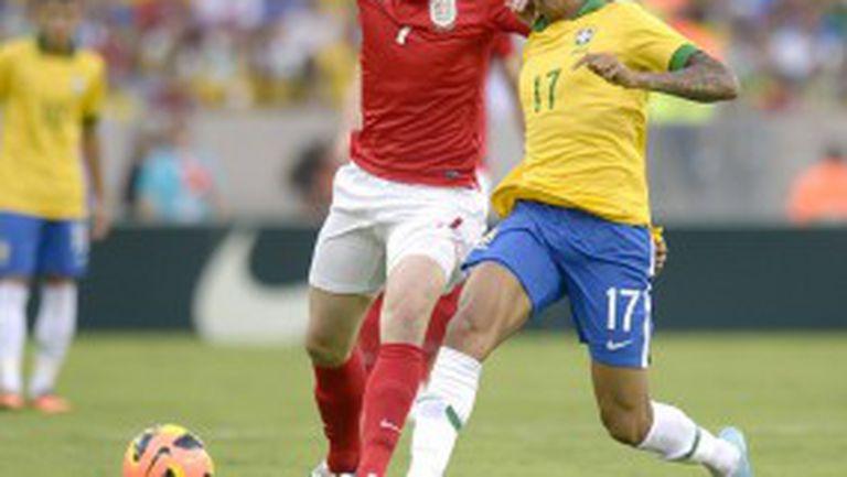 """Бразилия се спаси от Англия в края при откриването на """"Маракана"""" (видео)"""