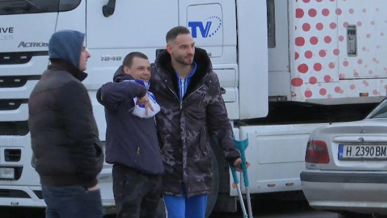 "Симеон Славчев пристигна с патерици на ""Герена"", за да наблюдава Левски - Лудогорец"