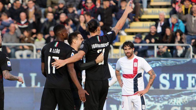 Каляри - Милан 0:2, гол на Ибрахимович