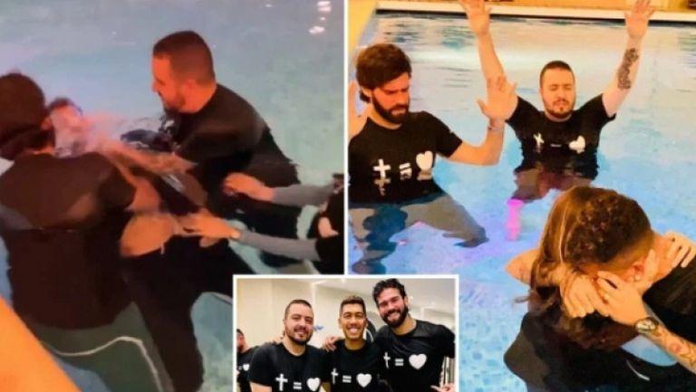 Кръстиха Фирмино в собствения му басейн