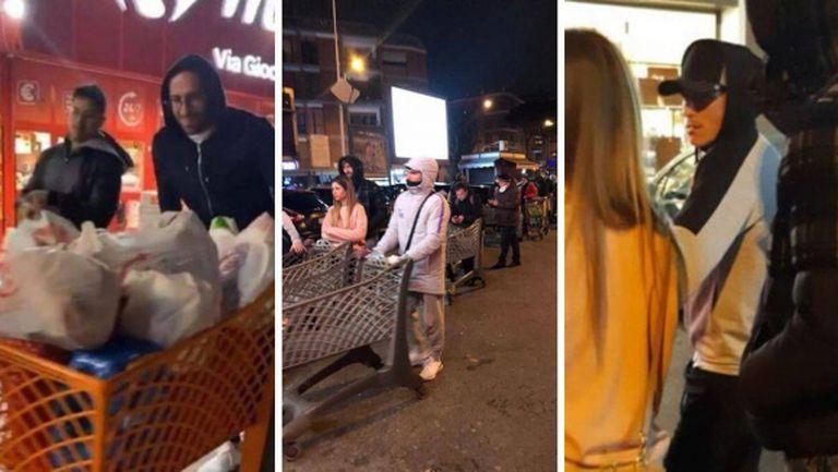 Снимаха играчи на Наполи да се презапасяват с храна и продукти