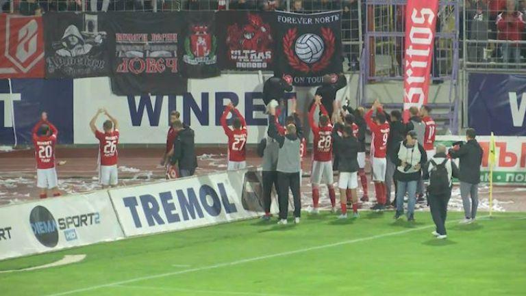 Футболистите на ЦСКА-София обраха овациите на своите фенове в Търново