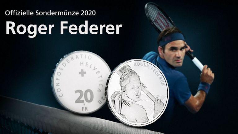 Показаха монета с лика на Федерер
