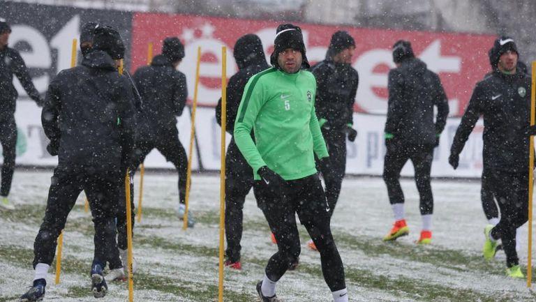 Снежна тренировка за Лудогорец в София